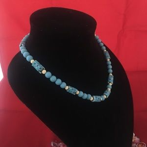 Vintage 1950's Clay Bead Necklace in Sky Blue